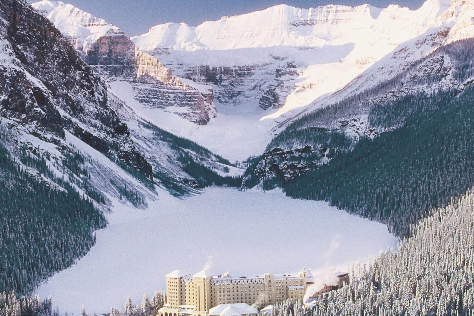 Chateau Lake Louise - Winter Aerial